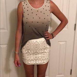 Forever 21 White Pattern Vegan Leather Skirt